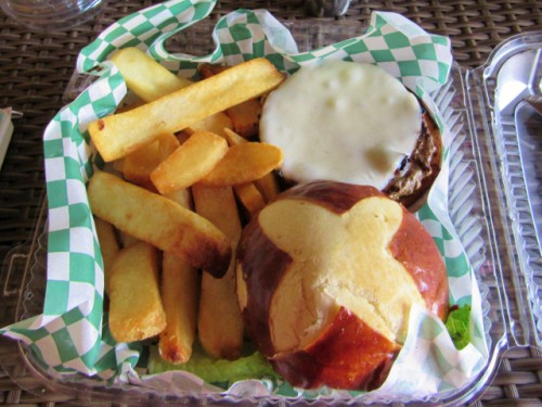 My delicious grass fed burger at the National Park Inn, after our Rampart Ridge hike