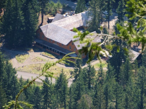 Looking down (on super-zoom) at the National Park Inn from Rampart Ridge