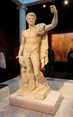 A statue from Pompeii.  He probably originally had a wooden staff that burned in the eruption.