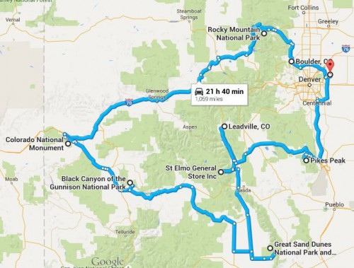 The route map of our Colorado Road Trip