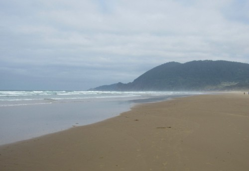 The beach at Nehalem Bay, on a cool, cloudy morning