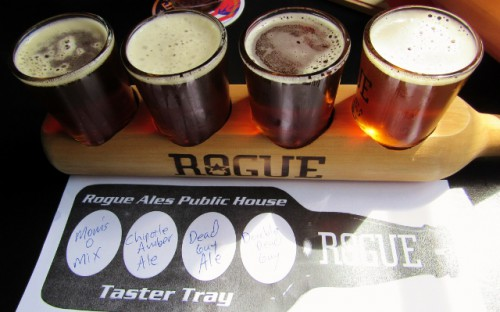 My taster tray at Rogue Brewery