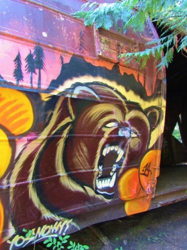 Graffiti on a train car.