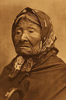 Kickisomlo, also known as Princess Angeline, daughter of Chief Sealth, for whom Seattle is named. Curtis photographed Angeline in 1896.