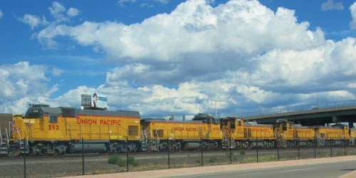 A line of Union Pacific train engines.