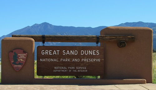 The entrance to Great Sand Dunes National Park and Preserve