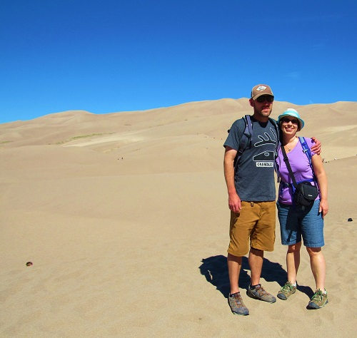 Jon and me at the beginning of our hike to the top of Star Dune - 699 feet tall and the second tallest dune in the park.