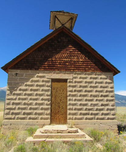 The Maxwell School, also known as the Mt. Princeton School, outside of Buena Vista, Colorado. Built in 1889 of handmade concrete blocks. Closed in 1933.
