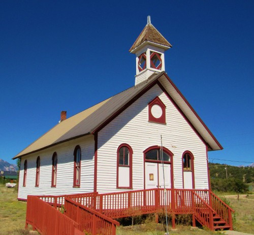 Historic one-room schoolhouse in Nathrop, Colorado, built 1881.
