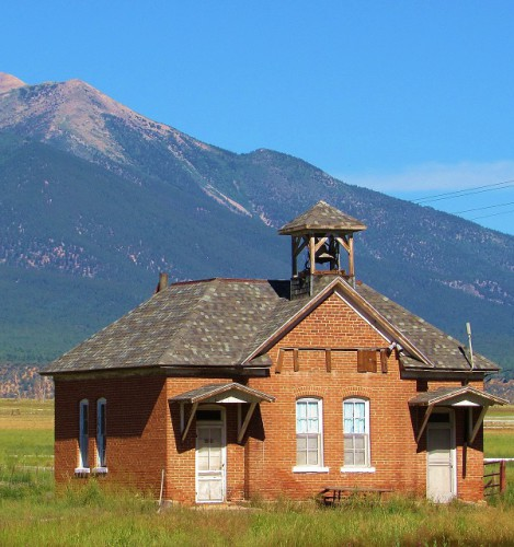 Historic Gas Creek schoolhouse outside of Salida, Colorado. Built 1890.