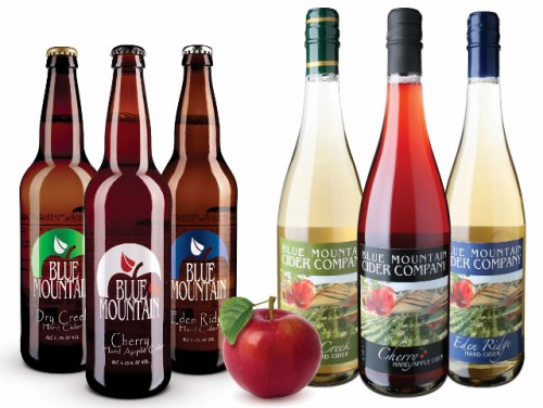 A line up of several Blue Mountain Ciders, courtesy of the Blue Mountain website.