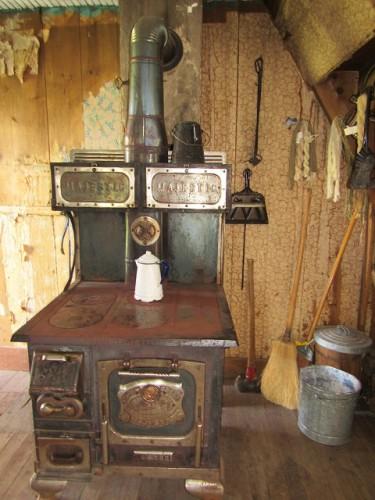The cooking stove inside the Hornbek Cabin