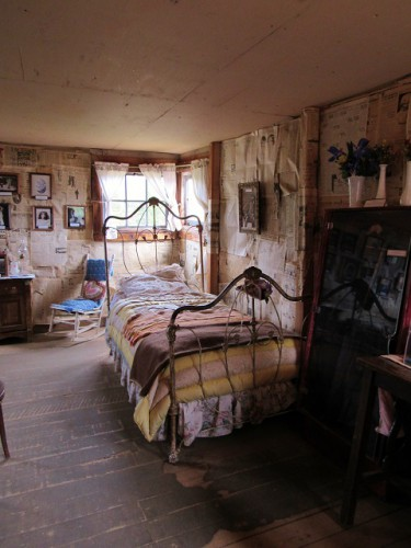 The interior of the foreman's shack. The furniture is not Baby Doe Tabor's - most of her things were stolen by souvenir collectors after she died.