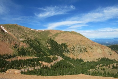 Looking back at the road up Pikes Peak.