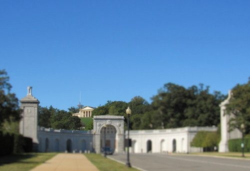 A view of Arlington House in the distance at Arlington National Cemetery.