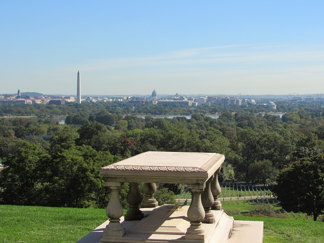 A view of the Washington Monument and the Capitol from Arlington House