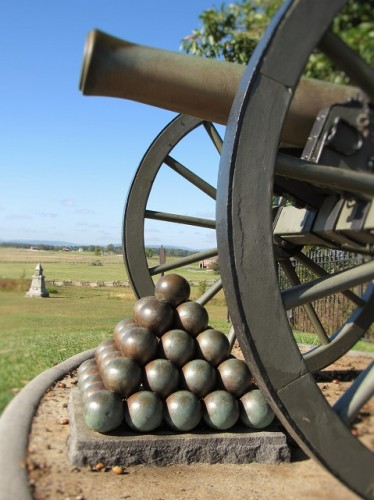 One of the hundreds of cannon that sit on the battlefield.