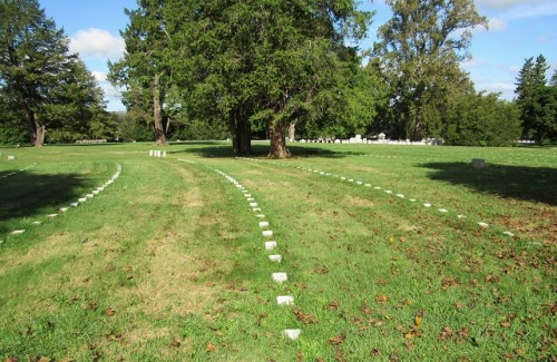 Gettysburg National Cemetery. The flat markers in the foreground are the Civil War graves.