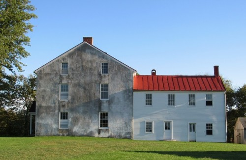 The side of the Best farmhouse, showing the original home, and the later addition.