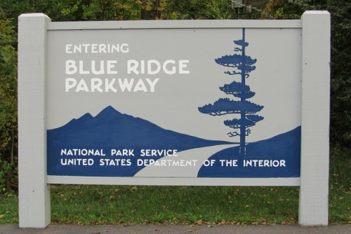The sign for the Blue Ridge Parkway!