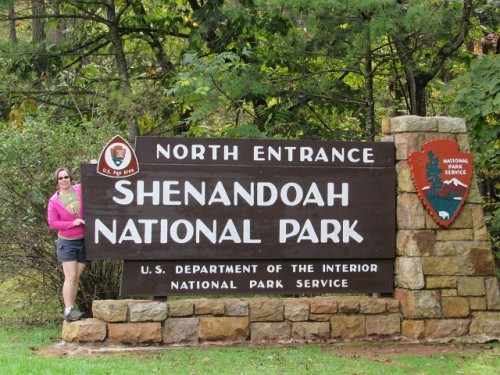 Me posing with the Shenandoah National Park Sign