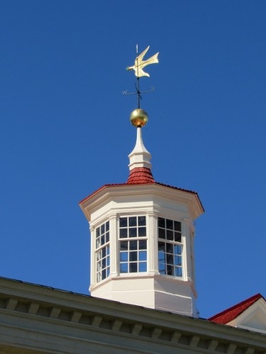 The dove weathervane at Mount Vernon - this one is a replica; the original from 1787 is on display in the museum.