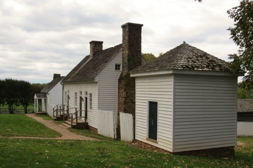 The icehouse, slave quarters and overseer's house at Ash-Lawn Highland. All original.