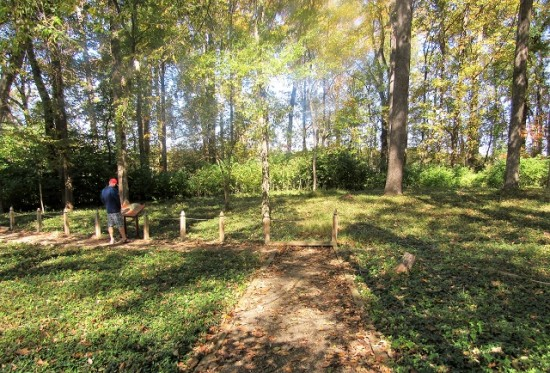 The slave cemetery at Montpelier. There are no markers on the graves, but some have field stones.