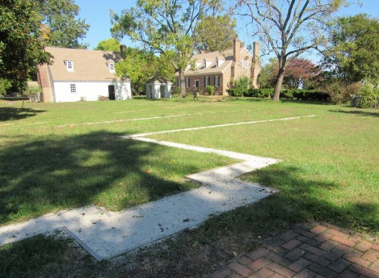 The outline is the foreground is where George Washington's birthplace home stood.