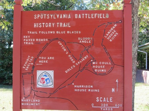 A marker showing the battlefield trails.