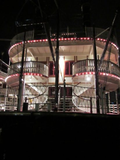 One of the steamboats, at night...