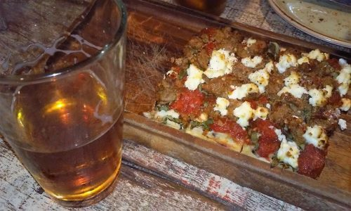 Chorizo Flatbread and Bell's Amber Ale at Draft