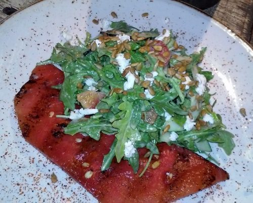 My scrumptious grilled watermelon salad at Draft