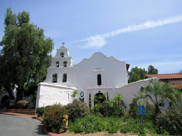 The front of the Mission San Diego de Alcala, California's oldest mission, founded 1769.