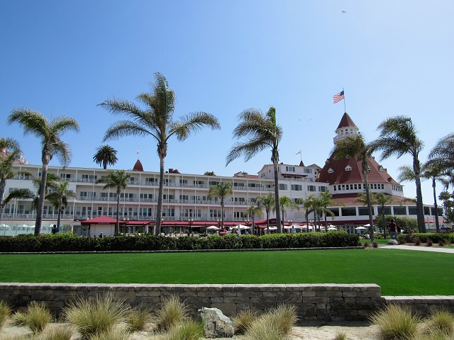 The beach side of the Hotel del Coronado