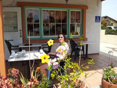 Me sitting at Berta's among the Hibiscus flowers