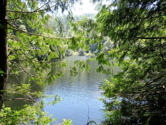 A peek-a-boo view of Fragrance Lake