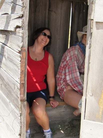 I met a new friend in the Prairie Homestead's double outhouse...