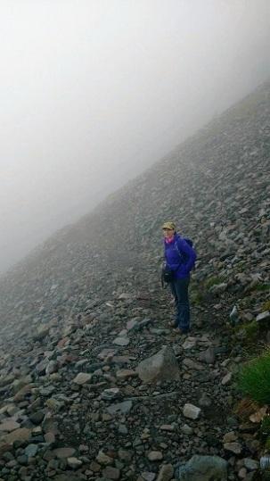 Me hiking in the fog