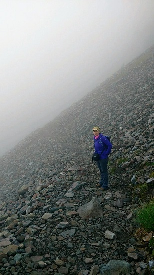 Me hiking in the fog