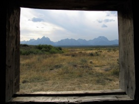 The view of the mountains from the cabin window