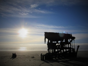 The Peter Iredale in the fading light
