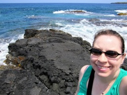 Me on the lava rocks overlooking the ocean
