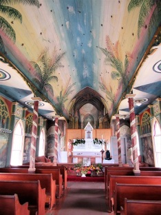 Interior showing trompe l'oeil behind the altar