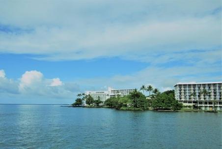 A hotel view from Liliuokalani Gardens