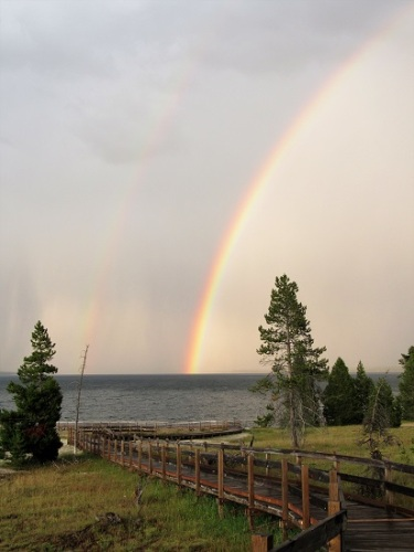 Double rainbow over the Boardwalk at West Thumb