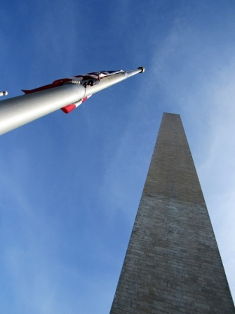 The Washington Monument and flag