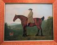 A man on a bobtailed horse