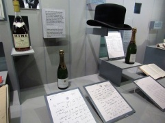 A few of the many bottles of fine champagne that were given to Churchill, and his bowler hat