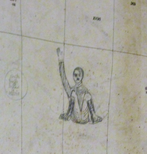 A caricature of Hitler in the map room